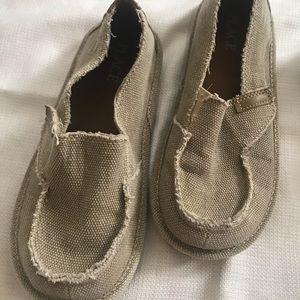 Tan boys slip on shoes